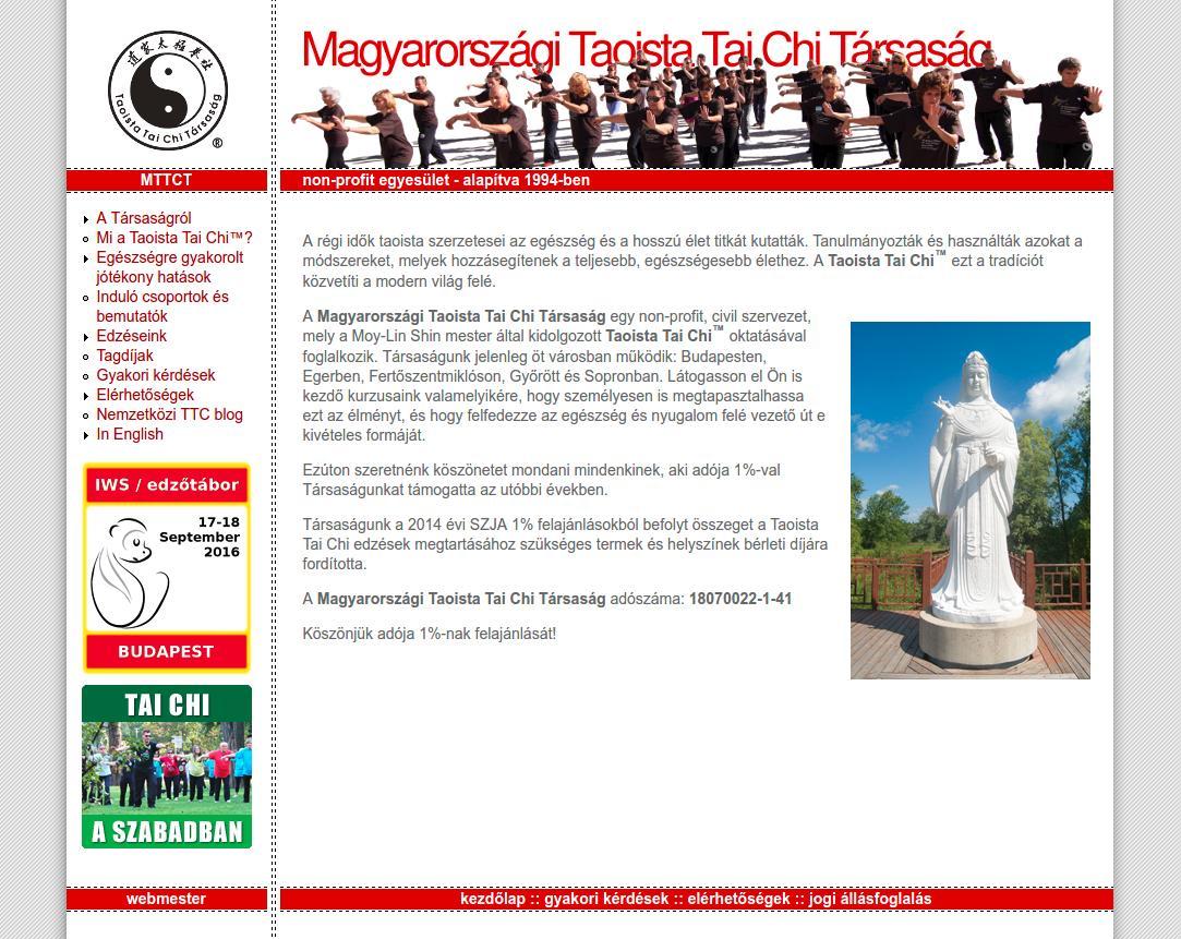 Magyarországi Taoista Tai Chi Társaság honlapja